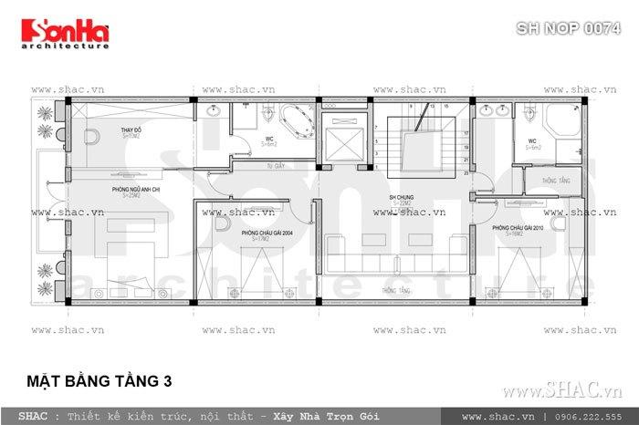 Bản vẽ mặt bằng tầng 3 của nhà phố sh nop 0074