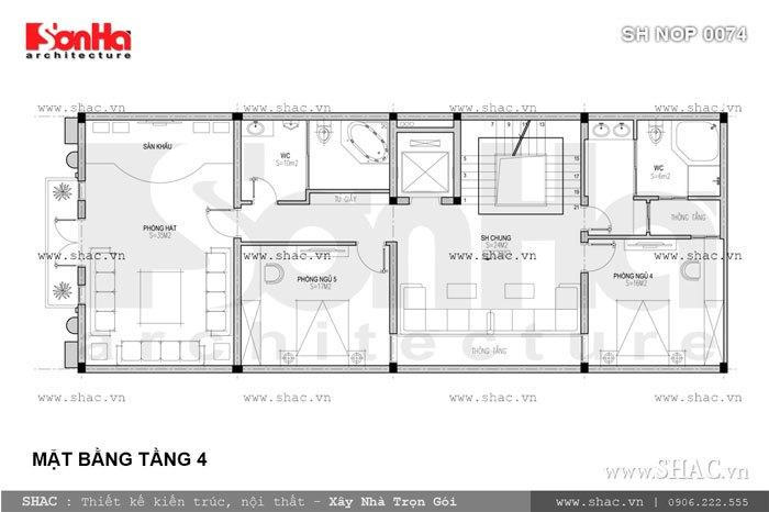 Bản vẽ mặt bằng tầng 4 của nhà phố sh nop 0074