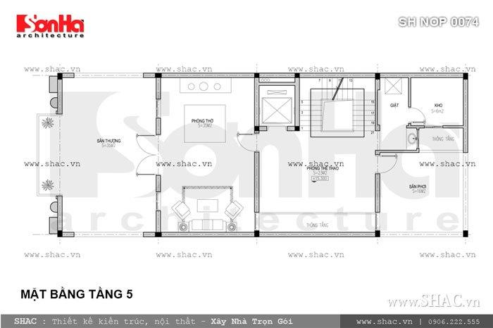 Bản vẽ mặt bằng tầng 5 của nhà phố sh nop 0074