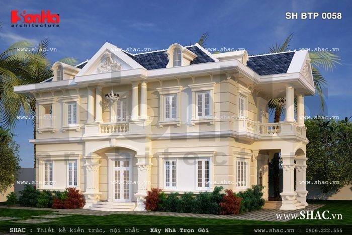 Mẫu biệt thự 2 tầng Pháp cổ đẹp nhất 2017 của công ty thiết kế biệt thự cổ điển uy tín