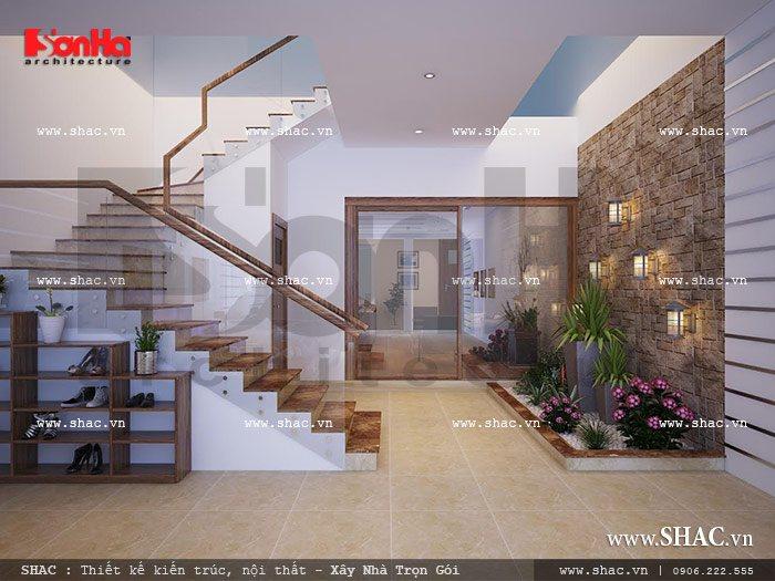 Cầu thang giữa gara và bếp sh nod 0114