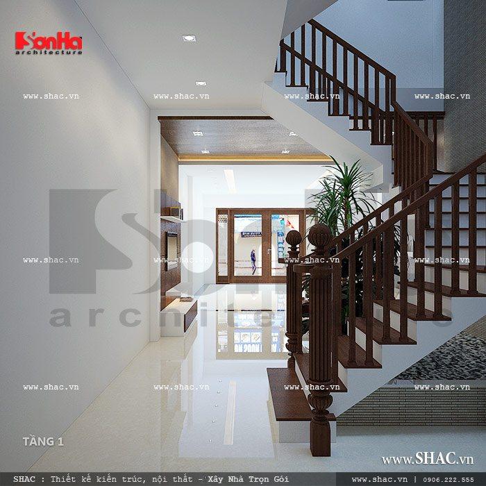 Sự đơn giản trong thiết kế của mẫu cầu thang nhà ống kiểu hiện đại đẹp mắt tinh tế
