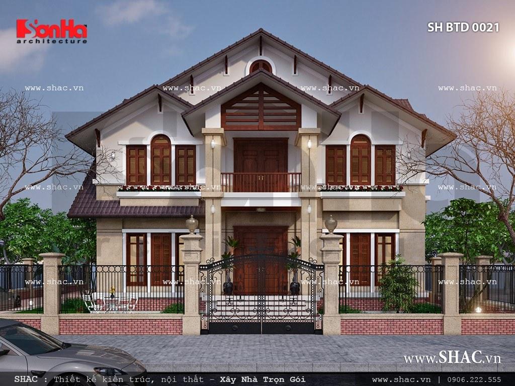 Mặt tiền của biệt thự 3 tầng có kiến trúc 2 tầng sh btd 0021