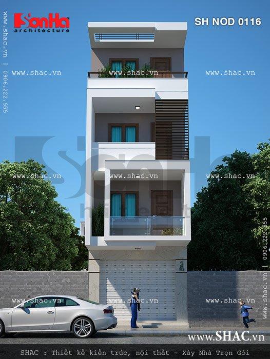Phương án thiết kế kiến trúc đẹp mắt của mẫu mặt tiền 4,5m cho nhà ống hiện đại