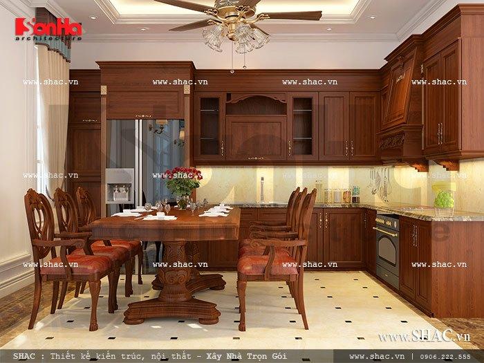 Phòng bếp ăn với lối bày trí khoa học, công năng sử dụng tiện ích đem đến một không gian ẩm thực hoàn hảo cho gia đình chủ đầu tư