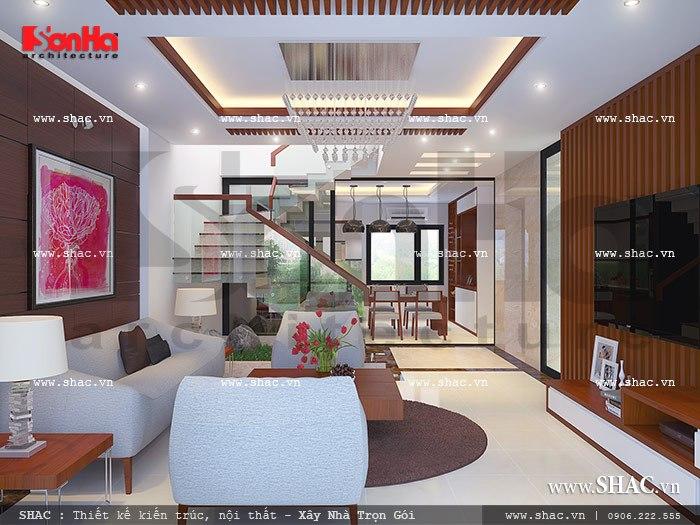 Phòng khách và bếp được bố trí tại tầng 3 sh nod 0115