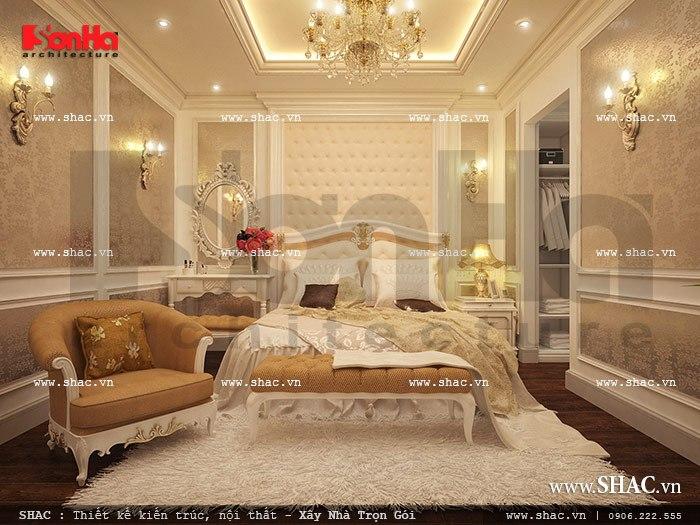 Phòng ngủ biệt thự Pháp xa hoa với thiết kế nội thất mang đậm phong cách Châu Âu sang trọng