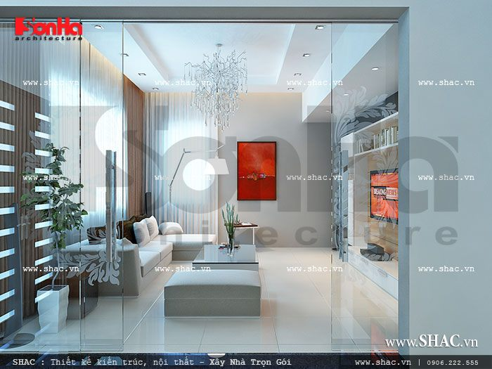 Thiết kế phòng khách hiện đại, trẻ trung sh nod 0117