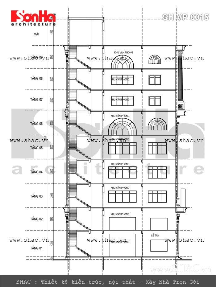 Bản vẽ mặt cắt của tòa nhà sh vp 0015