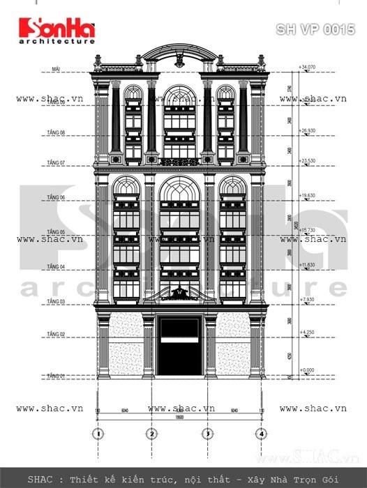 Bản vẽ mặt đứng của tòa nhà sh vp 0015