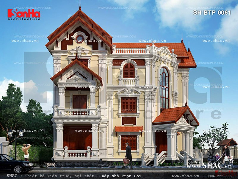 Thiết kế biệt thự 2 mặt tiền kiến trúc Pháp - SH BTP 0061 3