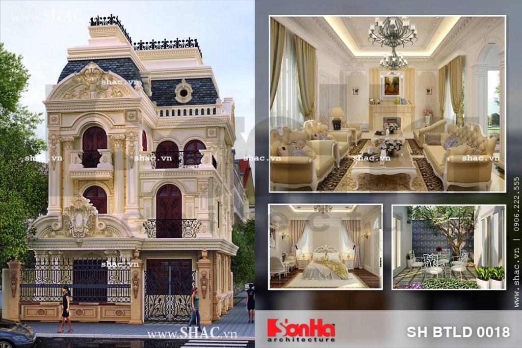 Biệt thự lâu đài kiến trúc pháp cổ điển sh btld 0018