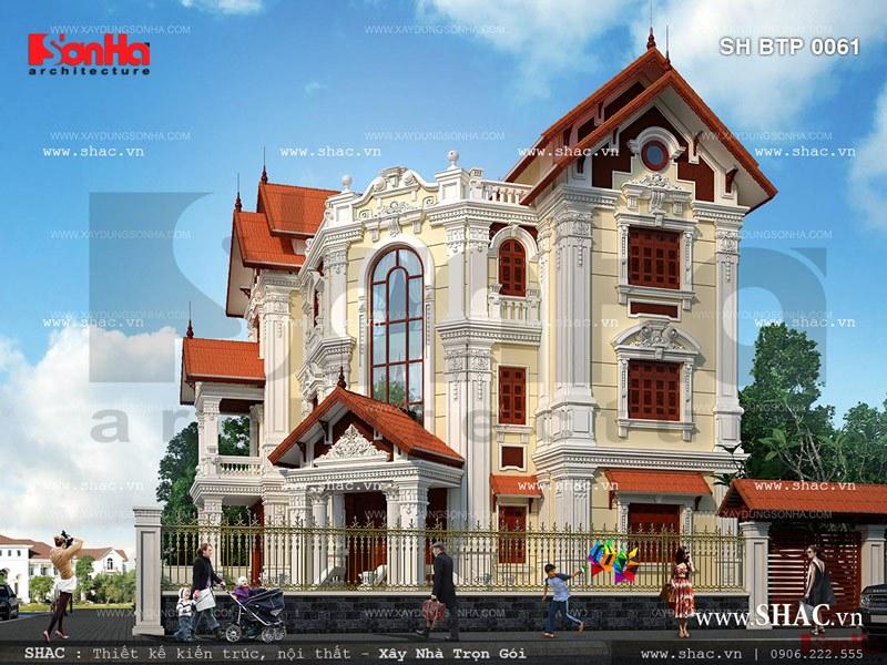 Thiết kế biệt thự 2 mặt tiền kiến trúc Pháp - SH BTP 0061 2