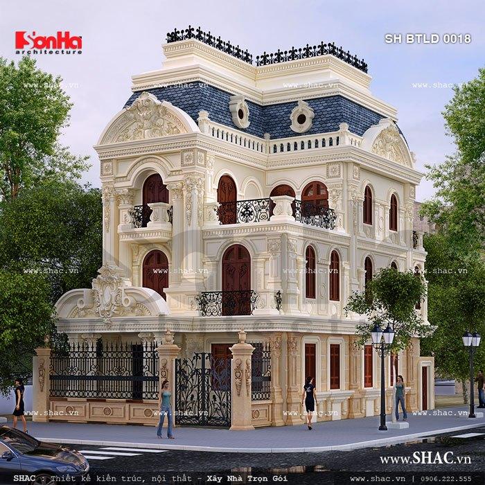 Kiến trúc mặt tiền biệt thự lâu đài cổ điển 3 tầng sang trọng tại Trà Vinh với ngoại thất tinh xảo