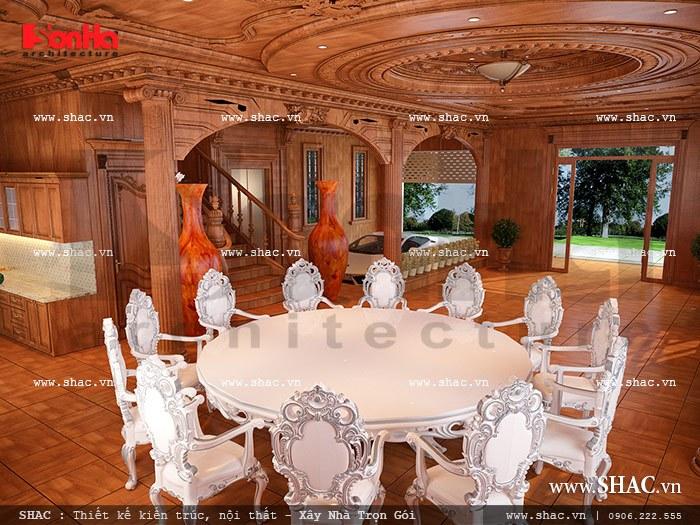 Sự kết hợp tinh tế cùng màu sắc hài hòa của nội thất phòng ăn biệt thự đem lại không gian đầm ấm cho căn bếp và bữa cơm sinh hoạt thường ngày