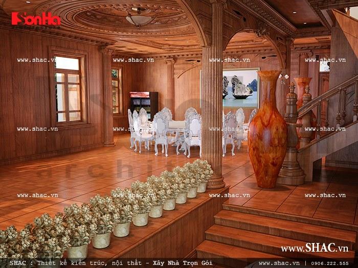 Thiết kế hàng lang thang và sảnh giao thông tại tầng 1 biệt thự lâu đài có diện tích 165m2