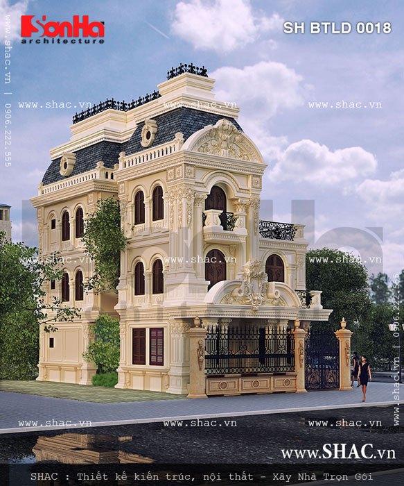 Mẫu biệt thự kiến trúc lâu đài diện tích 162m2 được thiết kế cân xứng, tỷ lệ khoa học ở ngoại thất mang lại vẻ đẹp kiêu kỳ cho cả công trình