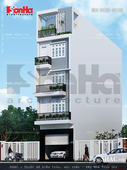 Nhà ống 5 tầng phong cách hiện đại sh nod 0119