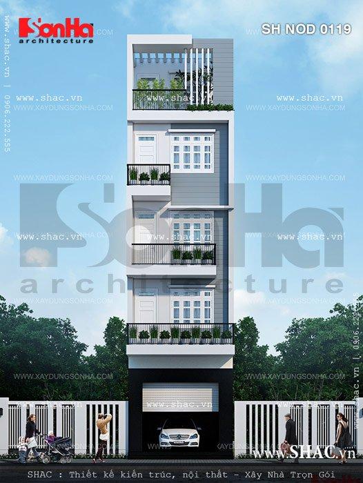 Thêm một phương án giản dị khác của mẫu thiết kế nhà phố hiện đại mặt tiền 5m đẹp