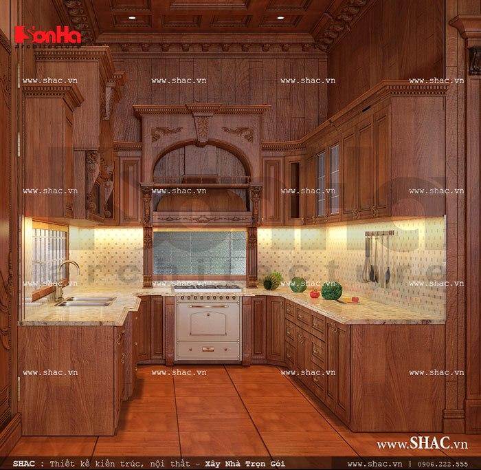 Hệ thống tủ bếp chữ U được thiết kế theo diện tích sẵn có tại tầng 1 và công năng sử dụng của gia chủ