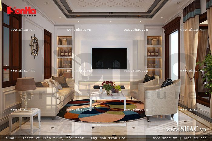 Mẫu thiết kế nội thất phòng khách biệt thự trang nhã và vô cùng lịch thiệp