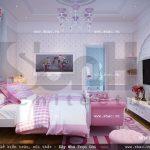 Nội thất phòngngủ đậm sắc hồng sh btld 0018