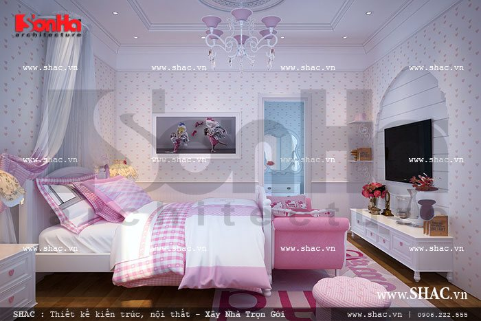Nội thất phòng ngủ đậm sắc hồng sh btld 0018