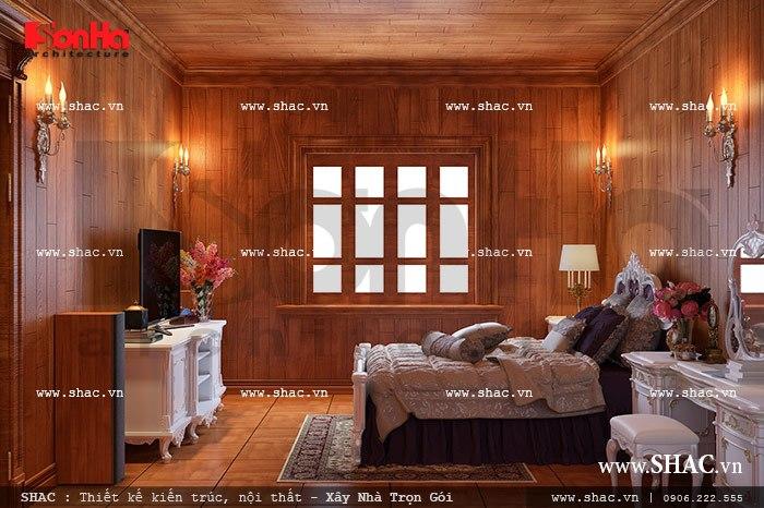 Việc thống nhất sử dụng vật liệu gỗ trong các không gian phòng ngủ của biệt thự lâu đài 3 tầng đều được gia chủ và KTS SHAC nhất quán mang lại vẻ đẹp hài hòa