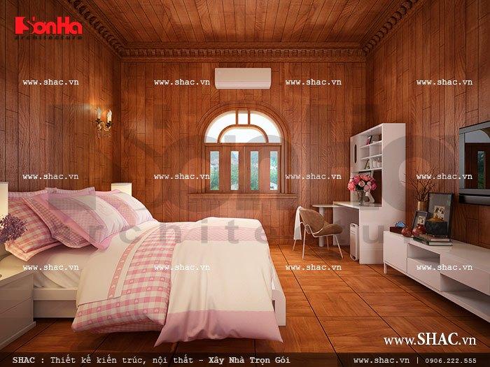 Nội thất phòng ngủ đẹp và ngăn nắp dành cho con gái gia chủ tại tầng 3 biệt thự