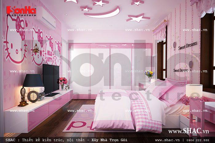 Phòng ngủ đậm sắc hồng cho con gái sh btp 0062