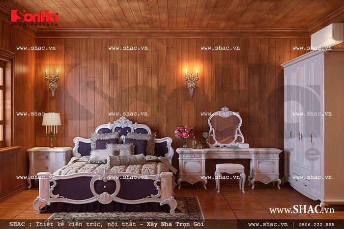 Mẫu nội thất phòng ngủ kiểu Châu Âu với kiểu dáng tinh tế và cao cấp của biệt thự lâu đài tại Quảng Ninh