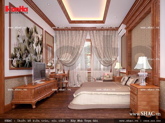Thiết kế nội thất phòng ngủ biệt thự cổ điển độc đáovới gam màu nâu cá tính