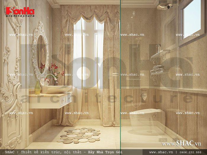 Thiết bị vệ sinh, phòng tắm trong mỗi phòng ngủ của biệt thự cổ điển ấn tượng tại Trà Vinh