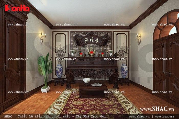 Mẫu phòng thờ đơn giản và trang trọng được bố trí hướng phong thủy hợp lý của biệt thự lâu đài tại Quảng Ninh