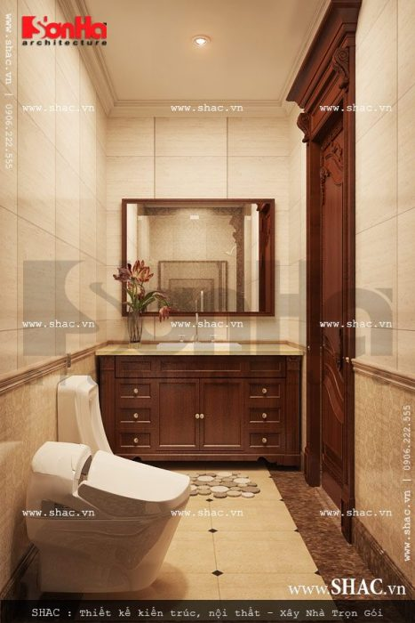 Thiết bị vệ sinh và phòng tắm khoa học trong mỗi phòng ngủ của biệt thự lâu đài đẳng cấp