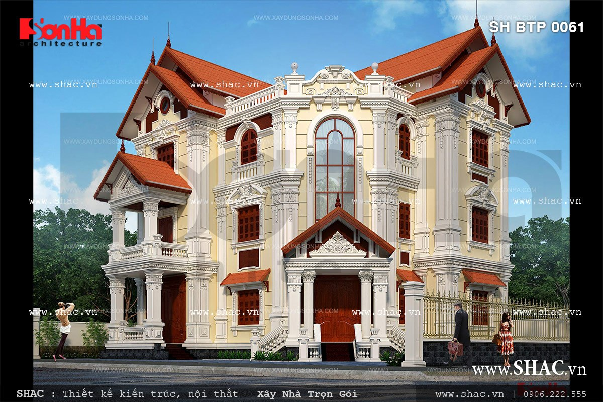 Biệt thự 2 mặt tiền kiến trúc pháp sh btp 0061