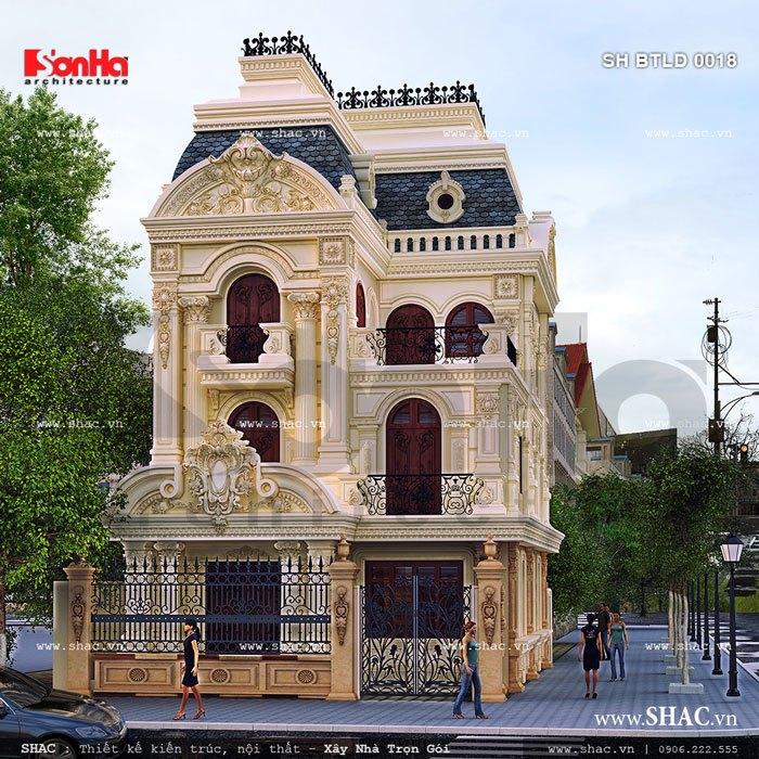 Cận cảnh mặt tiền 9m khang trang của biệt thự cổ điển ấn tượng 3 tầng tại TP. Trà Vinh