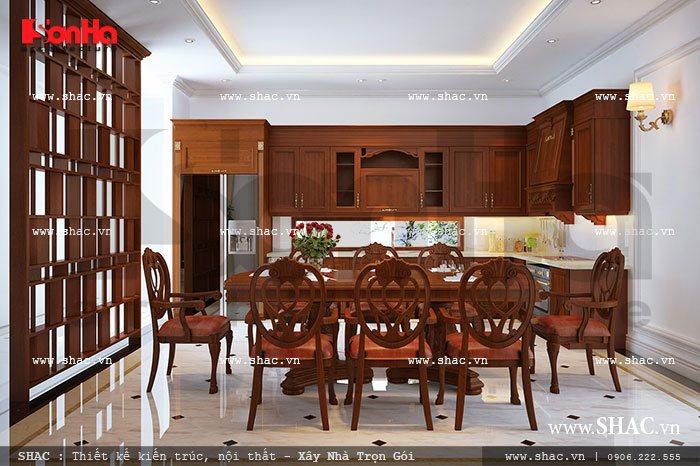 Thêm một mẫu thiết kế nội thất phòn g bếp ăn với chất liệu gỗ cao cấp mà kiến trúc sư Sơn Hà mang đến cho biệt thự Pháp tại Hải Phòng