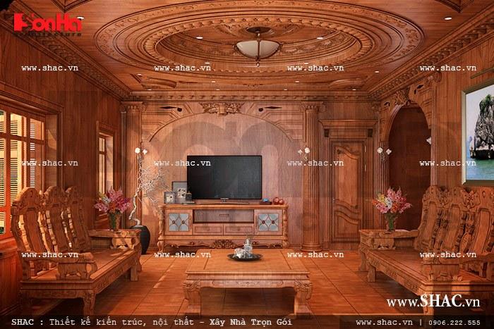Phong cách cổ điển với những thiết kế cầu kì, tỉ mỉ, sự lộng lẫy thể hiện qua từng chi tiết, chất liệu sẽ mang đến không gian phòng khách đẹp trang nhã, quý phái cho biệt thự kiến trúc Pháp