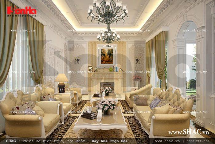 Phòng khách sang trọng vàng kem