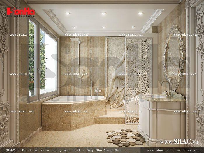 Toàn cảnh thiết kế phòng tắm đẳng cấp của biệt thự lâu đài đẹp 3 tầng tại Trà Vinh có diện tích rộng rãi