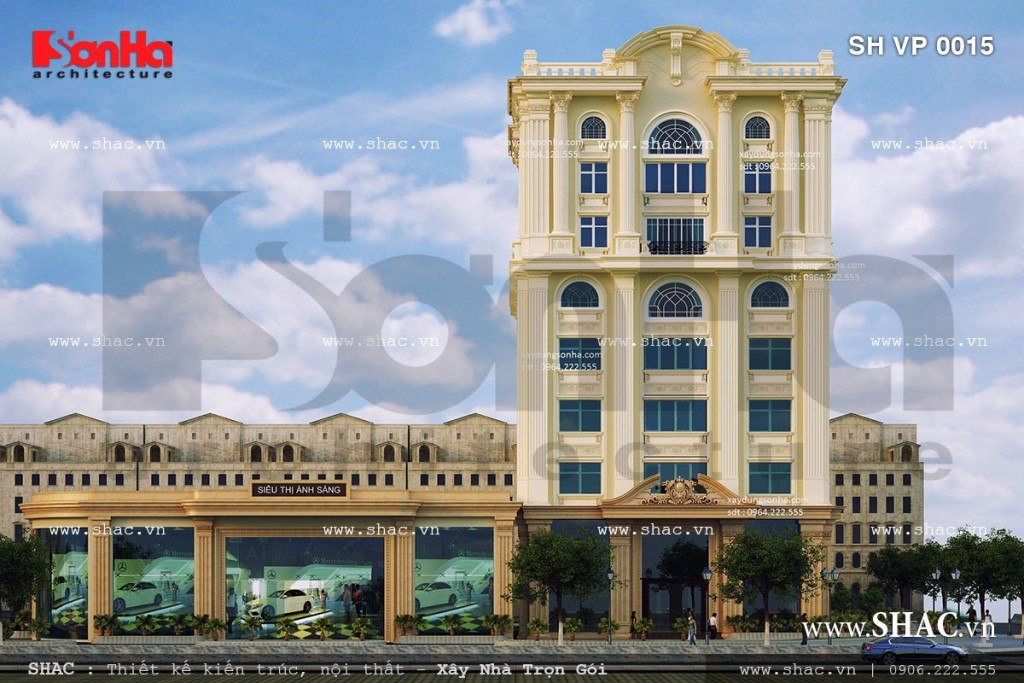 thiết kế tòa nhà cho thuê văn phòng sh vp 0015