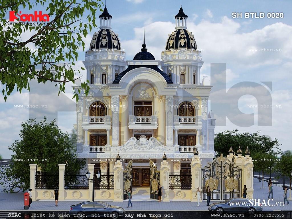 kiến trúc biệt thự lâu đài cổ điển 3 tầng hoành tráng