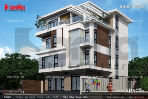 Mẫu biệt thự 4 tầng rộng hiện đại sh btd 0034