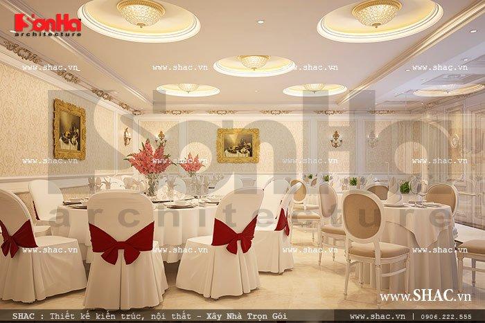 Kết hợp nhiều kiểu bàn ghế trong thiết kế nội thất phòng ăn tạo nên sự đa dạng và đáp ứng nhu cầu, sở thích của từng vị khách