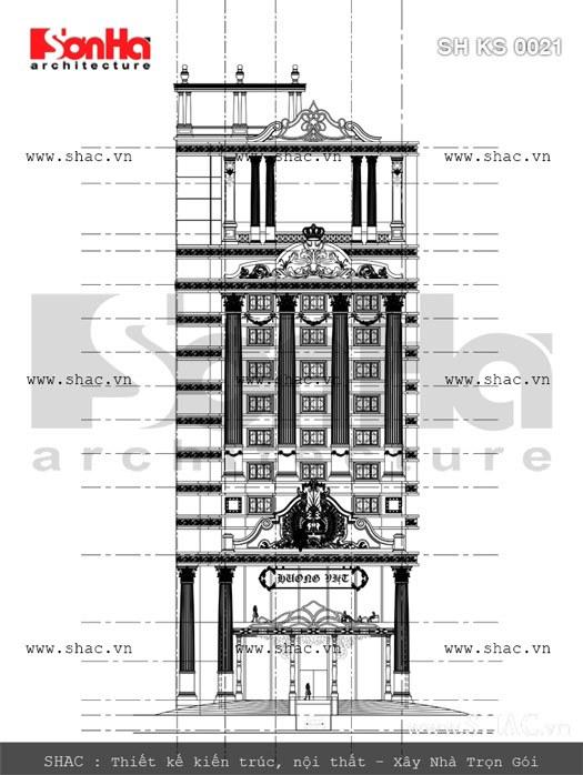 Bản vẽ chi tiết kiến trúc mặt tiền của khách sạn sh ks 0021