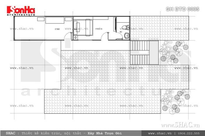 Bản vẽ mặt bằng biệt thự tầng 2 sh btd 0035