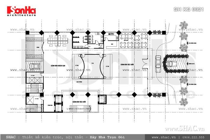 Bản vẽ mặt bằng tầng 1 của khách sạn sh ks 0021