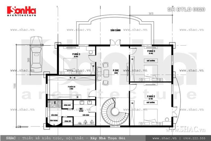 Công năng sinh hoạt tầng 2 gồm có các chức năng như: 3 phòng ngủ, 1 phòng sinh hoạt chung với diện tích hợp lý mang tới sự thoải mái nhất cho chủ nhân