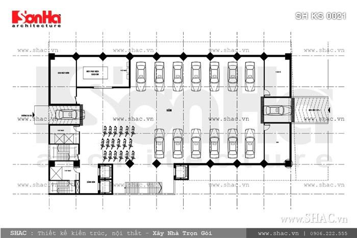 Bản vẽ mặt bằng tầng hầm của khách sạn sh ks 0021